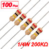 100 x 1/4W 250V 200K ohm Through Hole Carbon Film Resistors
