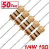 50 x 1/4W 250V 10 ohm Axial Lead Carbon Film Resistors