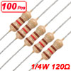 100 x 1/4W 250V 120 ohm Through Hole Carbon Film Resistor