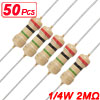 50 x 1/4W 250V 2M ohm Through Hole Carbon Film Resistor