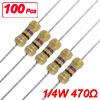 100 x Resistors 470 ohm OHMS 1/4W 250V 5% Carbon Film