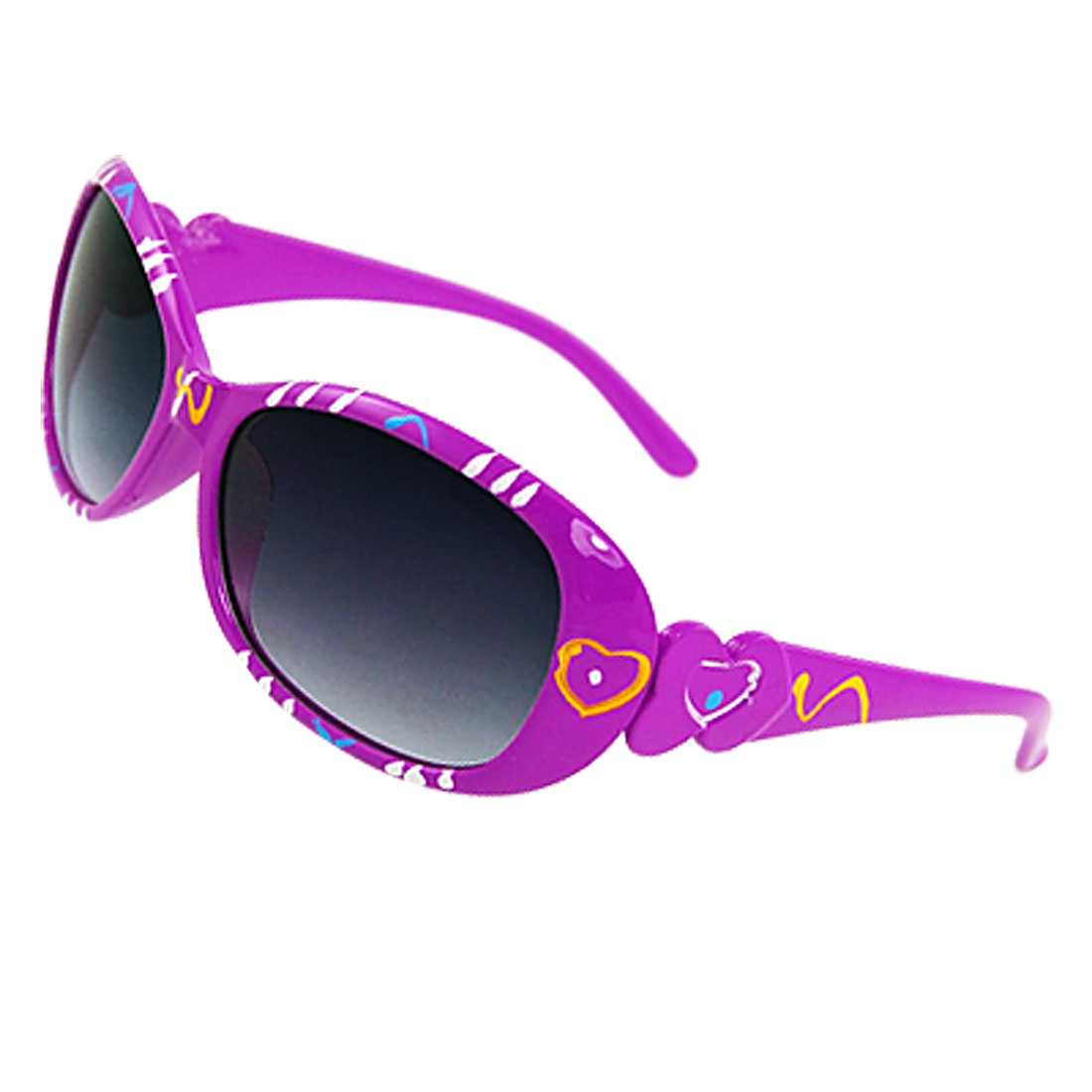 Dark Gray Lens Purple Plastic Full Rim Frame Sunglasses for Kids Child