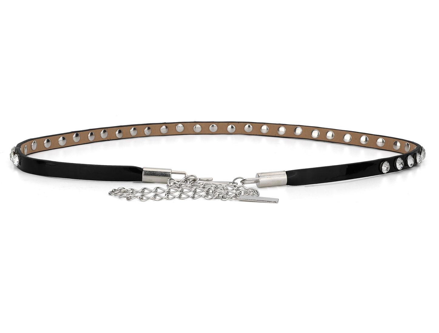 Women Plastic Crystal Decor Black Faux Leather Slim Belt w Chain