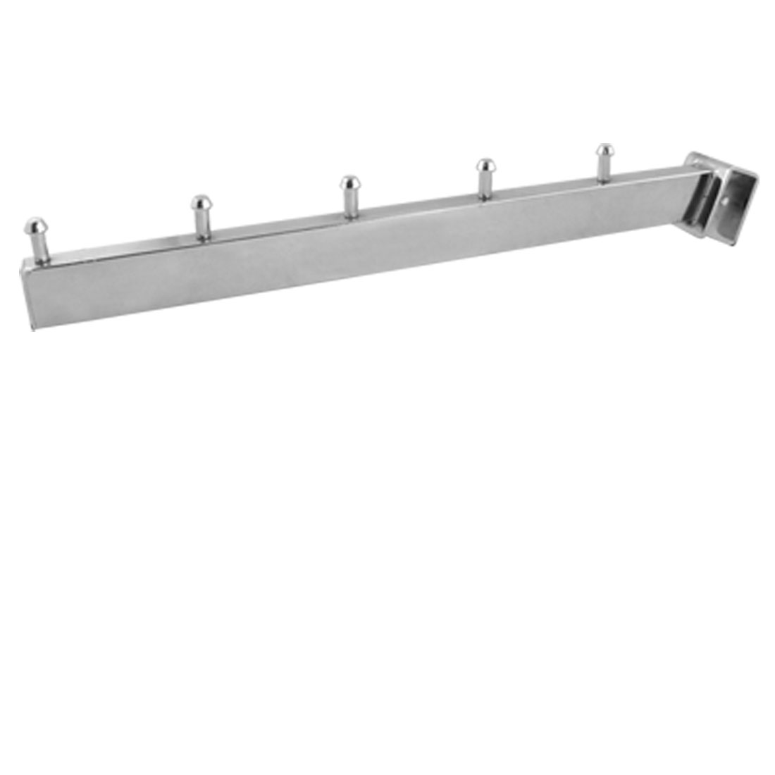 Waterfall Arm Rectangular Tubing 5 Sections Display Rack Hooks Silver Tone