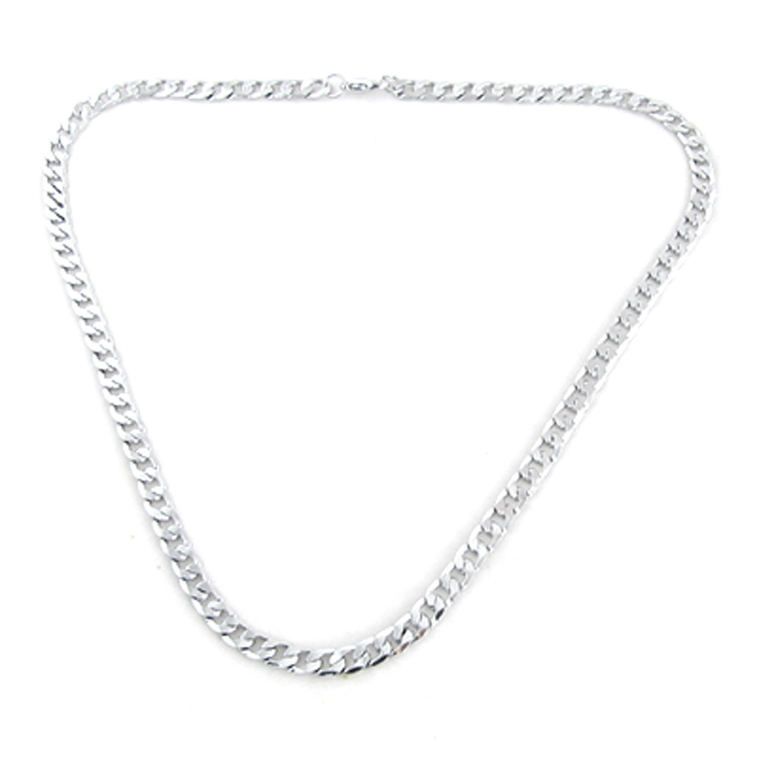Men Woman Silver Tone Glossy Lobster Clasp Link Necklace