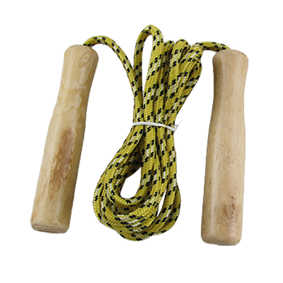 Gym Wooden Handle Fitness Adjustable Jumping Skipping Rope Yellow for Unisex
