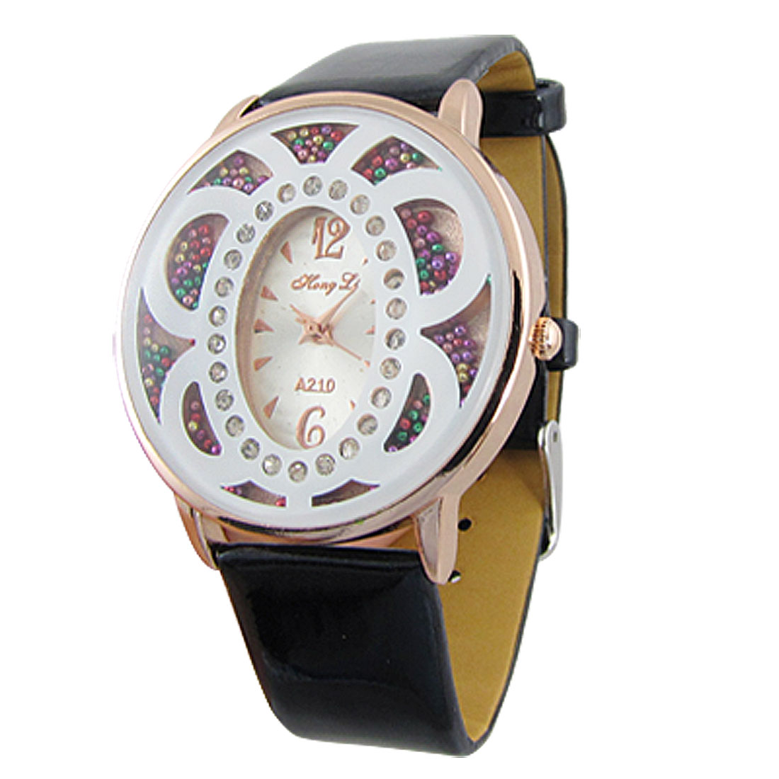Women Black Faux Leather Adjustable Band Round Dial Copper Tone Numeric Wristwatch