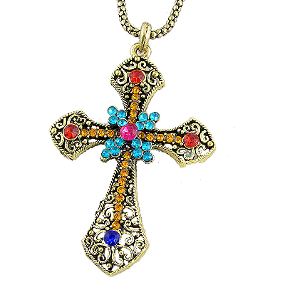 Women Colorful Rhinestone Hollow Out Cross Bronze Tone Alloy Necklace