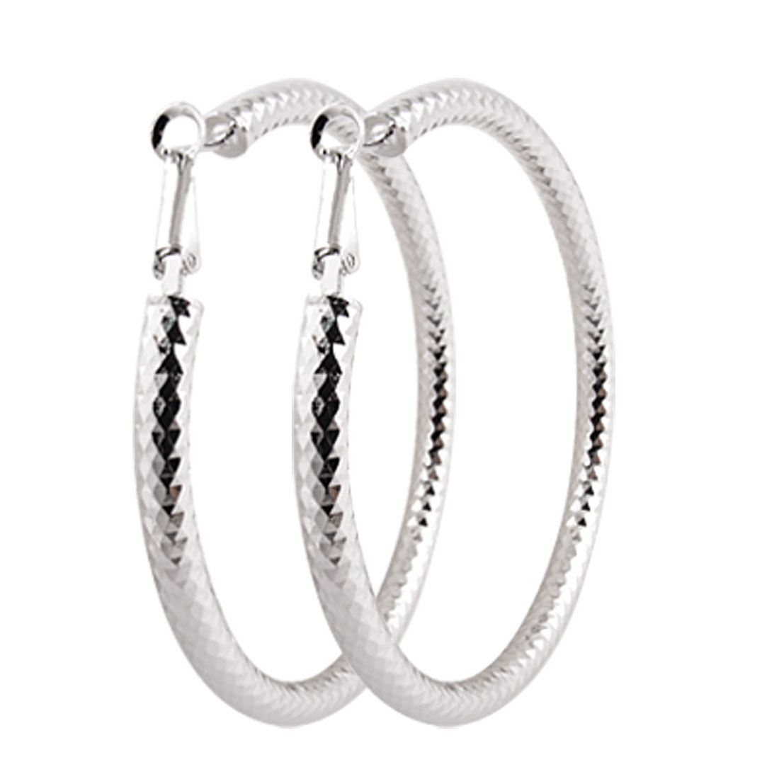 Pair Silver Tone Big Round Loop Hoop Earrings for Women