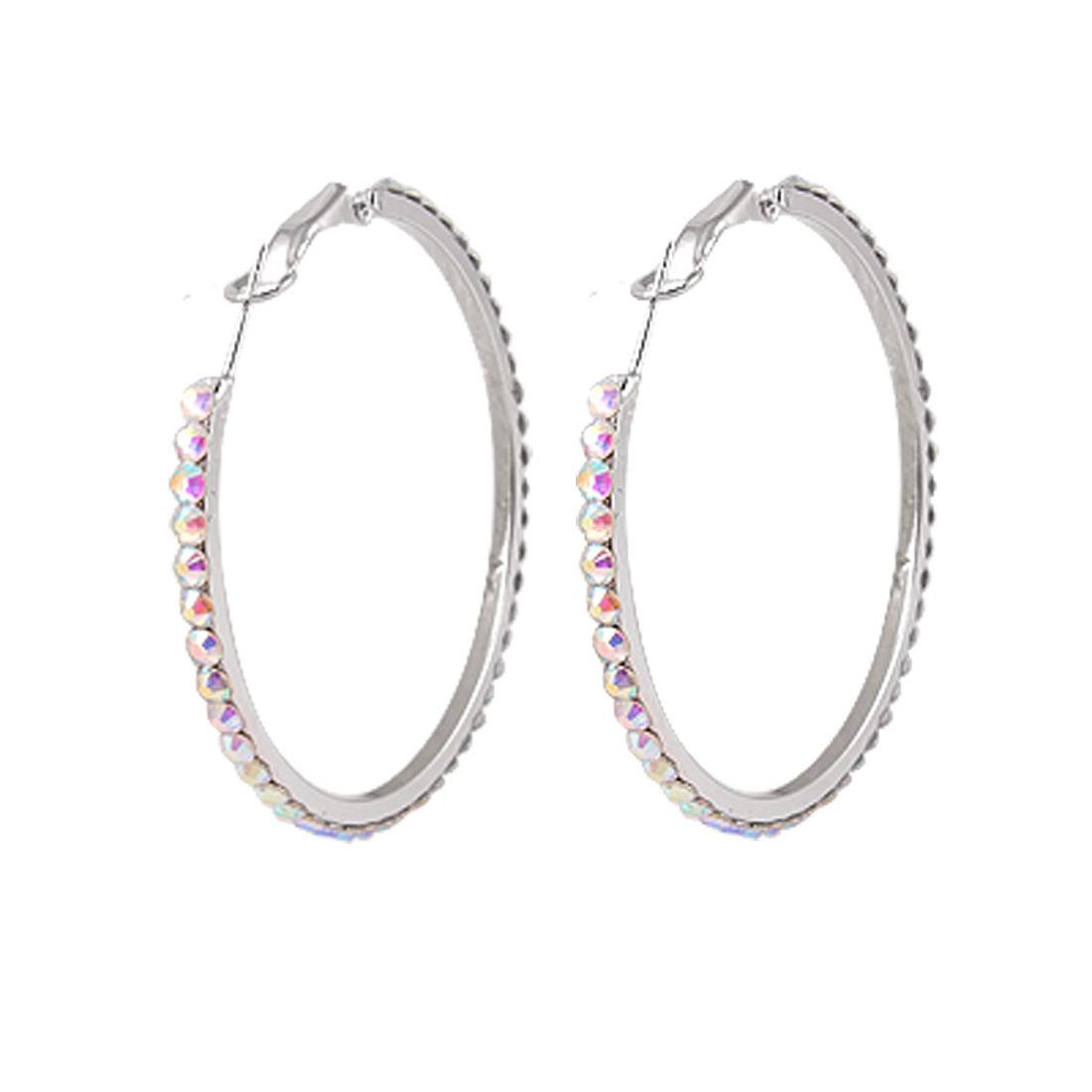 """Women Colorful Rhinestone Accent 2"""" Big Loop Hoop Earrings"""