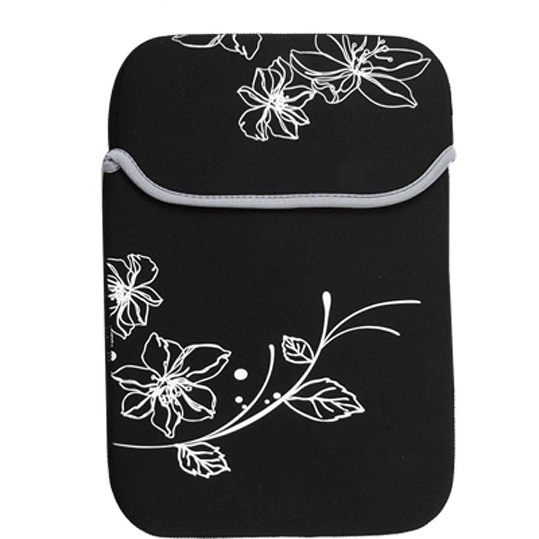 """10"""" 10.1"""" 10.2"""" Black White Flower Neoprene Laptop Sleeve Bag Case ."""
