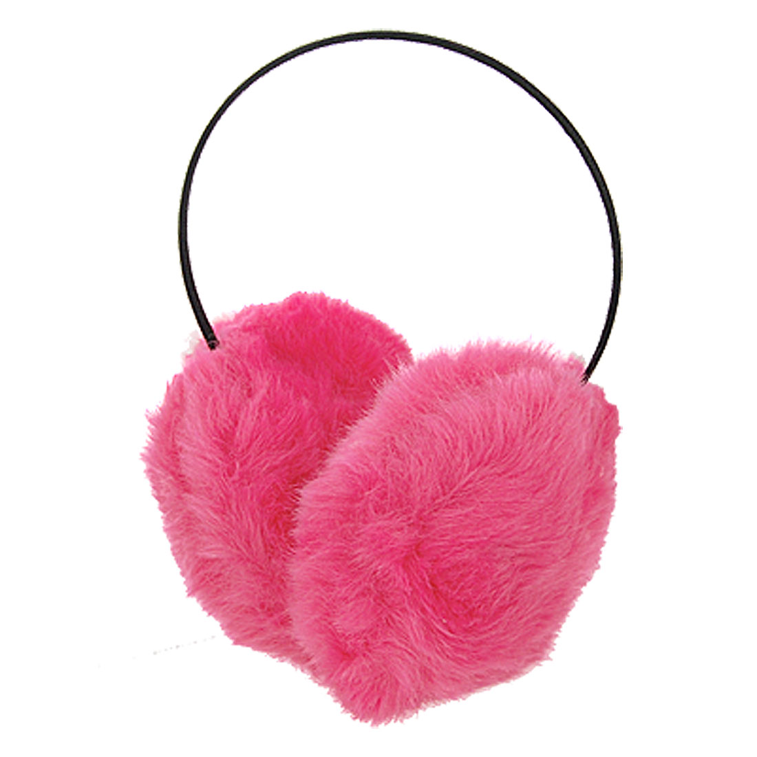 Women Metal Frame Fuchsia Faux Fur Ear Muffs Winter Warmers Earmuffs