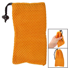 Protective Nylon Mesh Bag Drawstring Pouch Sunglasses Holder Orange