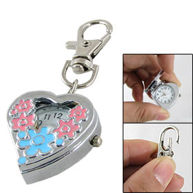 Women Blue Pink Flower Pattern Heart Shaped Keyring Watch Silver Tone