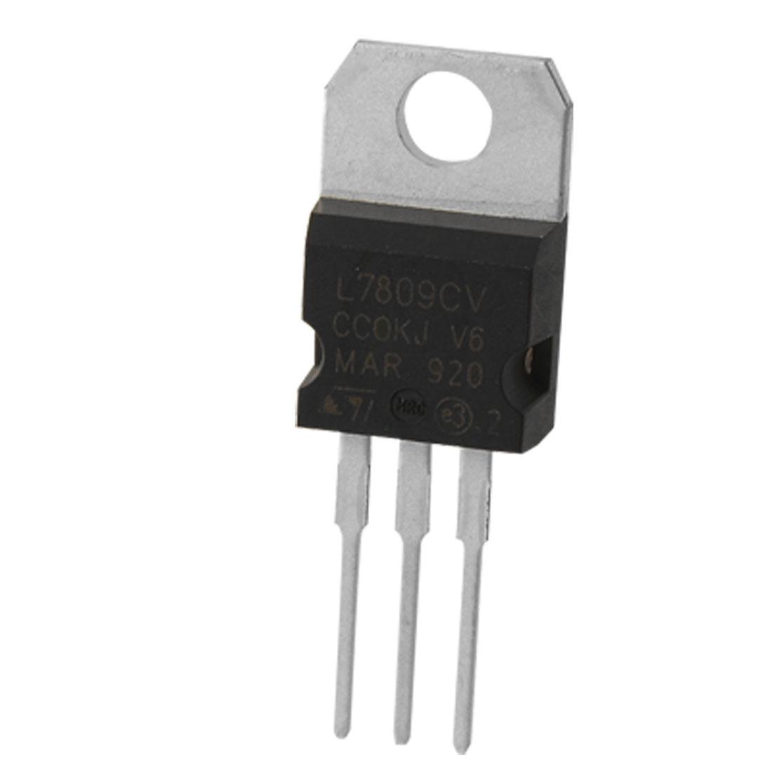 2 Pcs L7809CV 3 Terminals Through Hole 1.5A 9V Postive Voltage Regulator