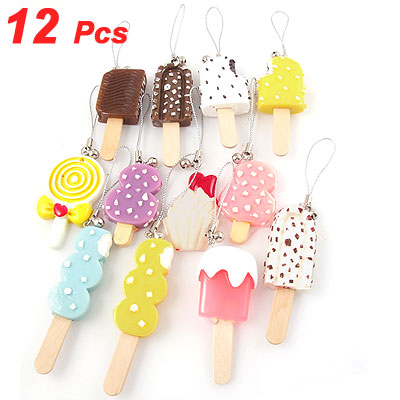 12 Pcs Colorful Ice Cream Pendants Charm for Cell Phone