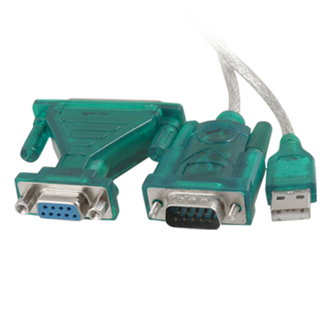 USB to RS232 Serial 9 Pin Adapter Cable w DB9 Female to DB25 Male Connector Green 1M Long