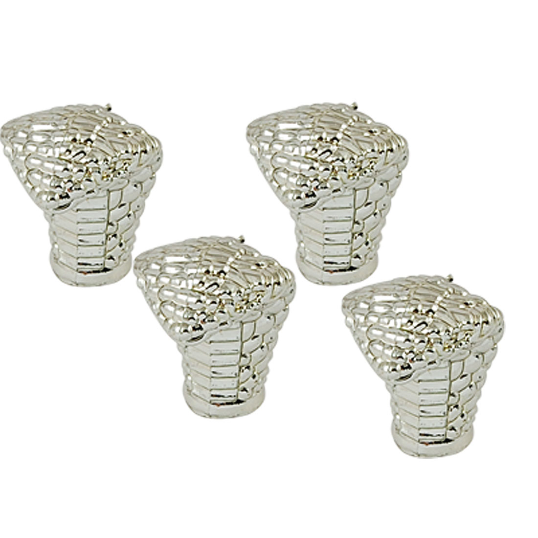 Car Auto Silver Tone Tyre Tire Valve Snake Caps Covers 4 Pcs