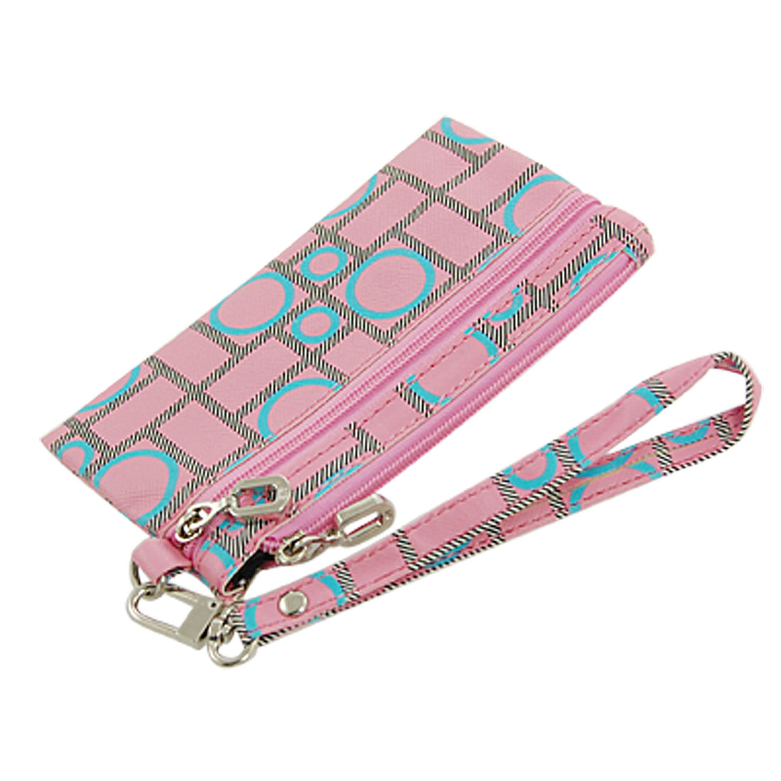 Cell Phone Pink Zip up Circle Print Compartment Pouch Holder
