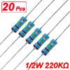 20 x 1/2W Watt 220K ohm 220KR Carbon Film Resistor 0.5W