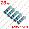 1/2W Watt 10K ohm 10KR Carbon Film Resistor 0.5W 20Pcs