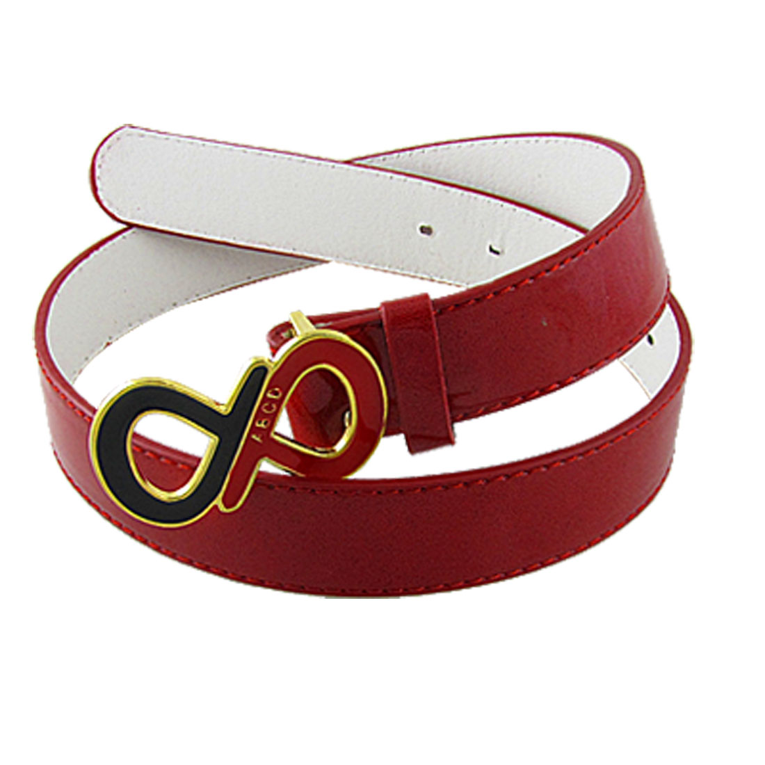 Slide Buckle Red Adjustable Faux Leather Waist Band for Women