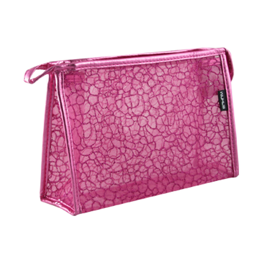 Lady Powder Decor Zip Up Mesh Plastic Cosmetic Pouch Bag Fuchsia
