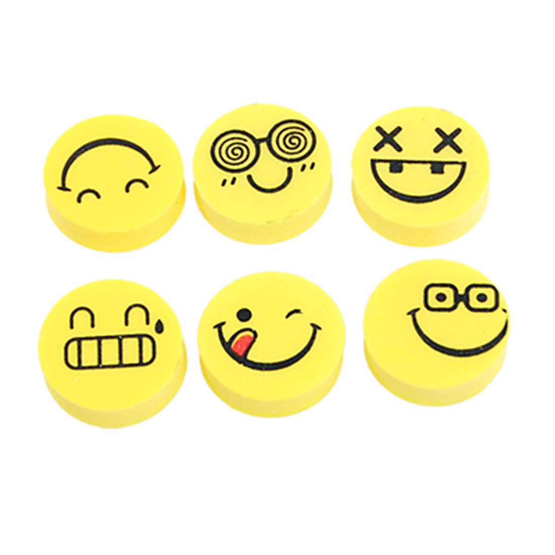6 Pcs Smile Face Expressions Rubber Stationery Erasers Yellow