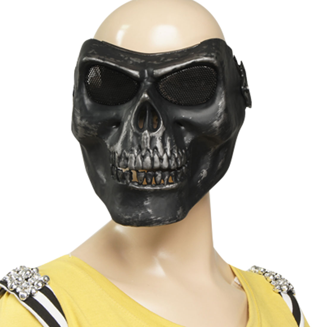 Metal Wire Mesh Eye Plastic Skull Full Mask Metal Silver Tone Black