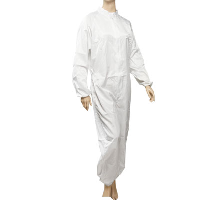 Woman Men White Long Raglan Sleeve Striped Anti Static Overall Jumpsuit
