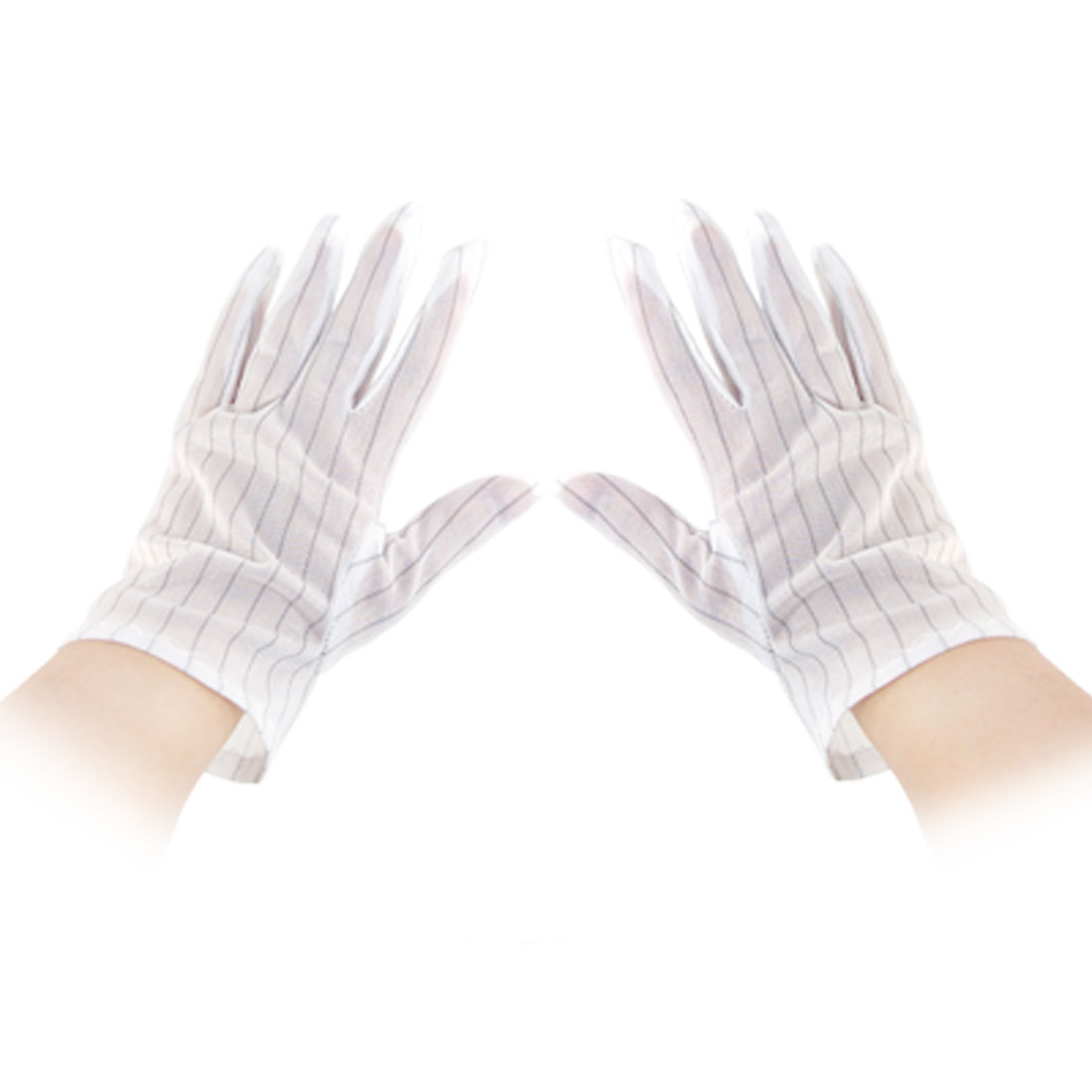 5 Pairs Stripe Pattern Anti-static Working Gloves White Size M