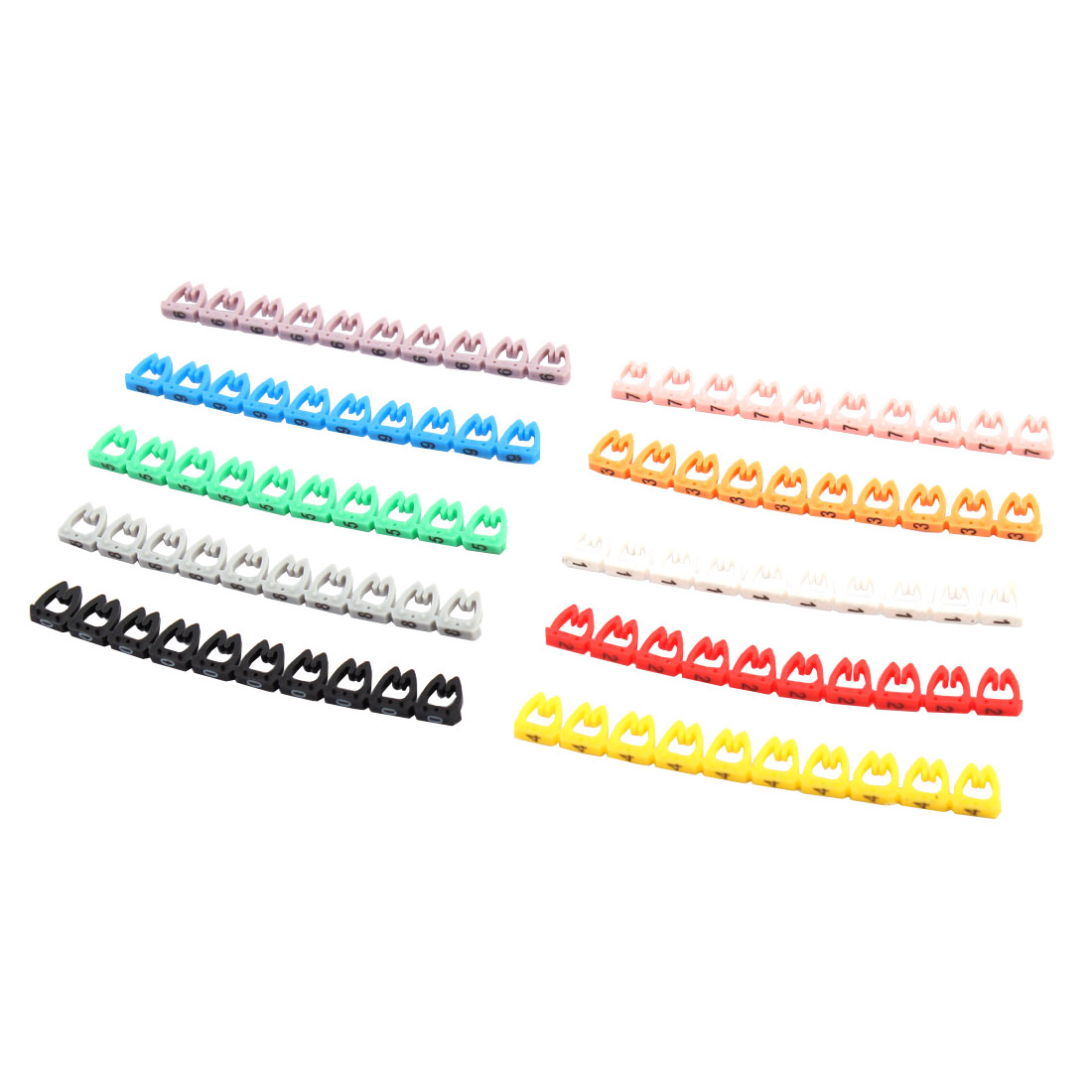 4-6mm Wire Dia. Colorful Wire Organiser Management Markers 10 Pcs