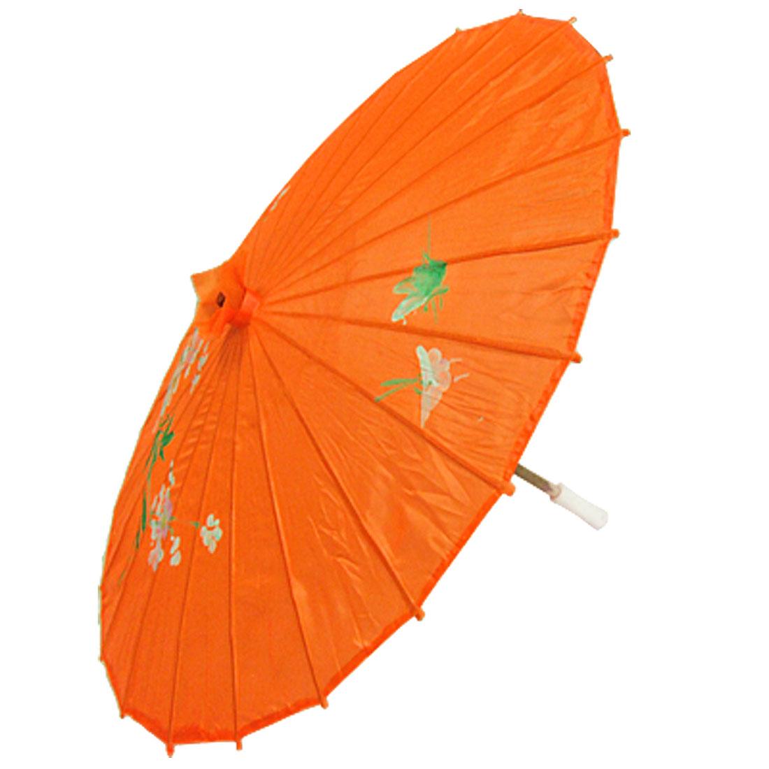 Blossom Print Orange Red Bamboo Folding Dancing Parasol Umbrella