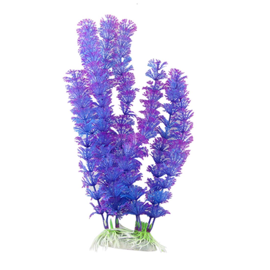 Fish Tank Aquarium Snowflake Shaped Leaf Purple Blue Plastic Plants