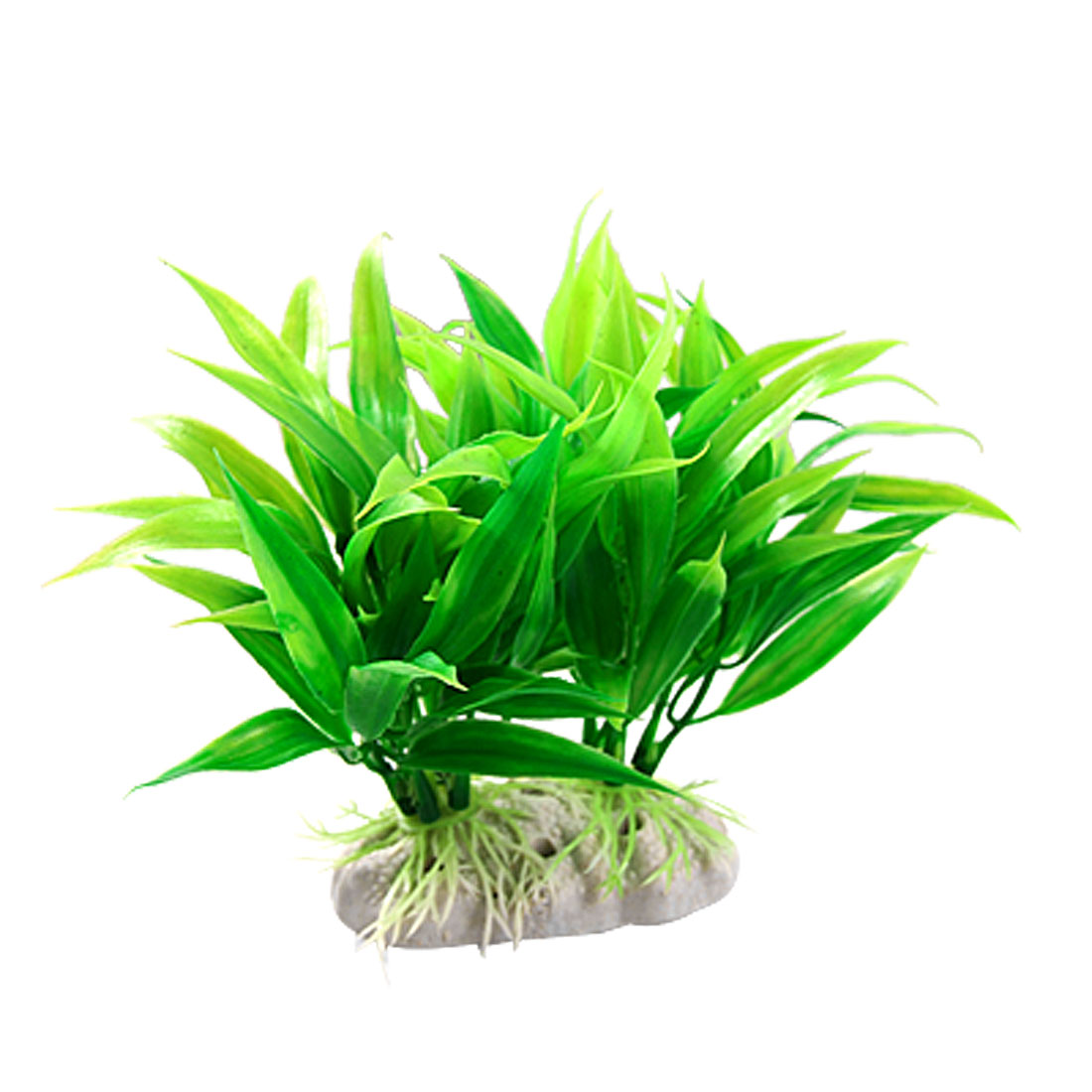 White Ceramic Base Long Leaf Green Plastic Plants Decoration for Aquarium
