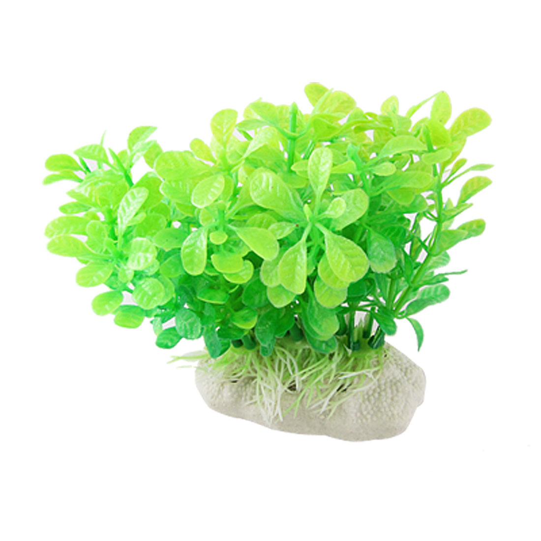 Aquarium Fish Tank Decoration Grass Ceramic Base Green Leaf Plastic Plants