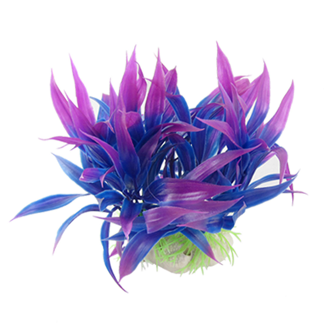Aquarium Landscaping Artificial Ceramic Base Purple Blue Plastic Plants