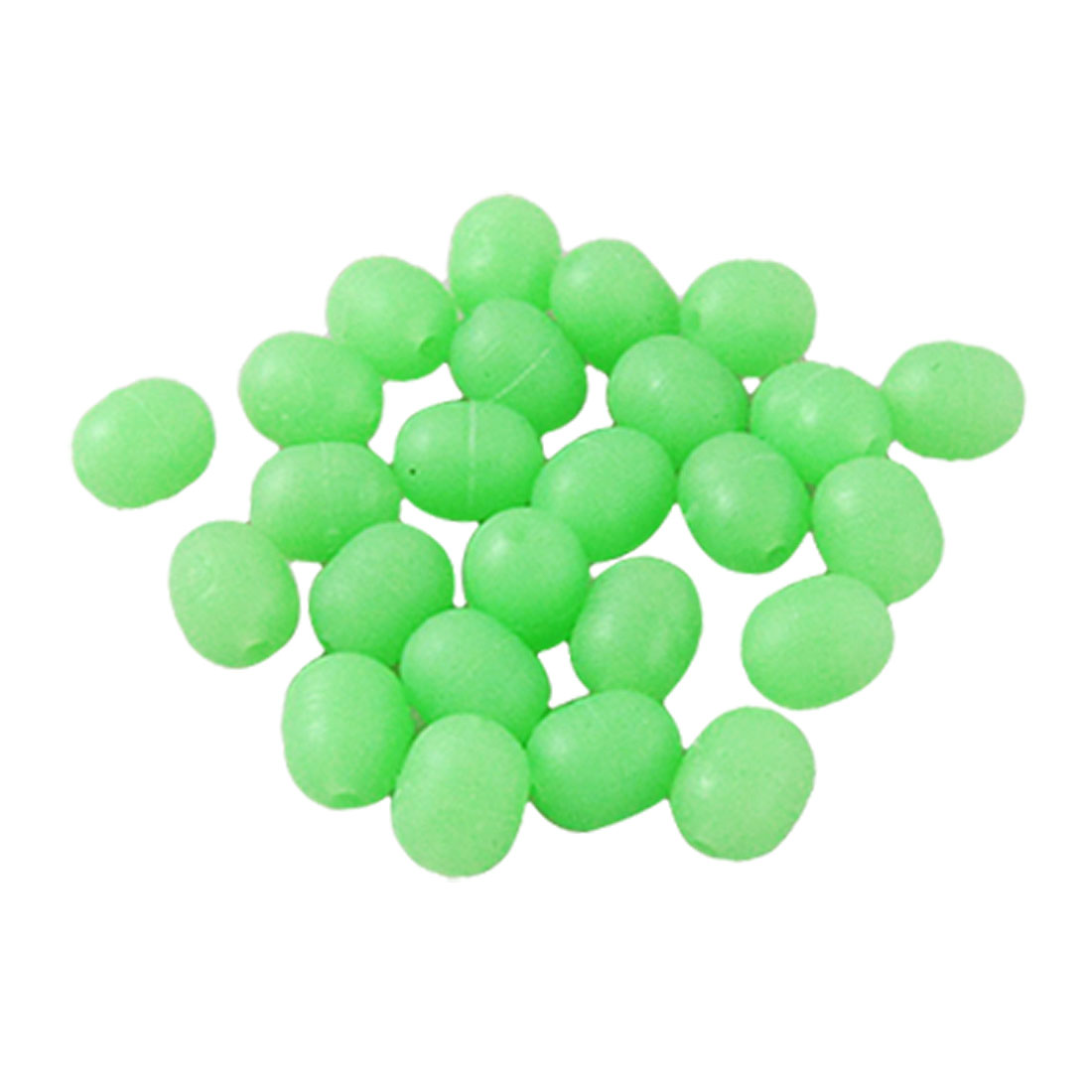 25 Pcs 6.4 x 7.3mm Green Soft Plastic Mini Glow in Dark Fishing Beads