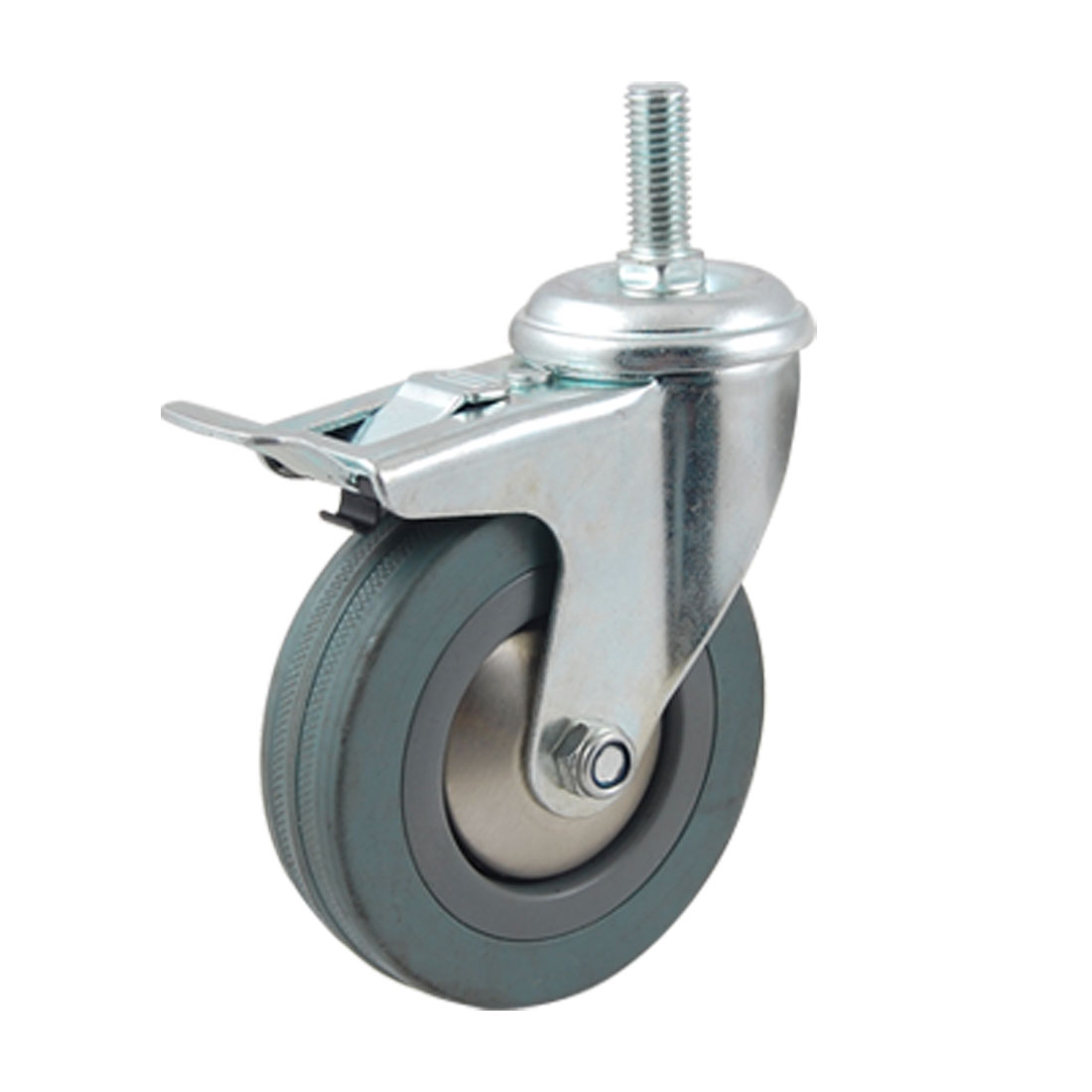 "4"" Diameter Gray Single Wheel Theaded Stem Swivel Brake Roller Caster"
