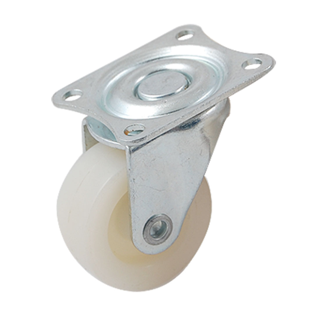 "2 Pcs 1.5"" White Plastic Wheel Light Duty Swivel Plate Casters"