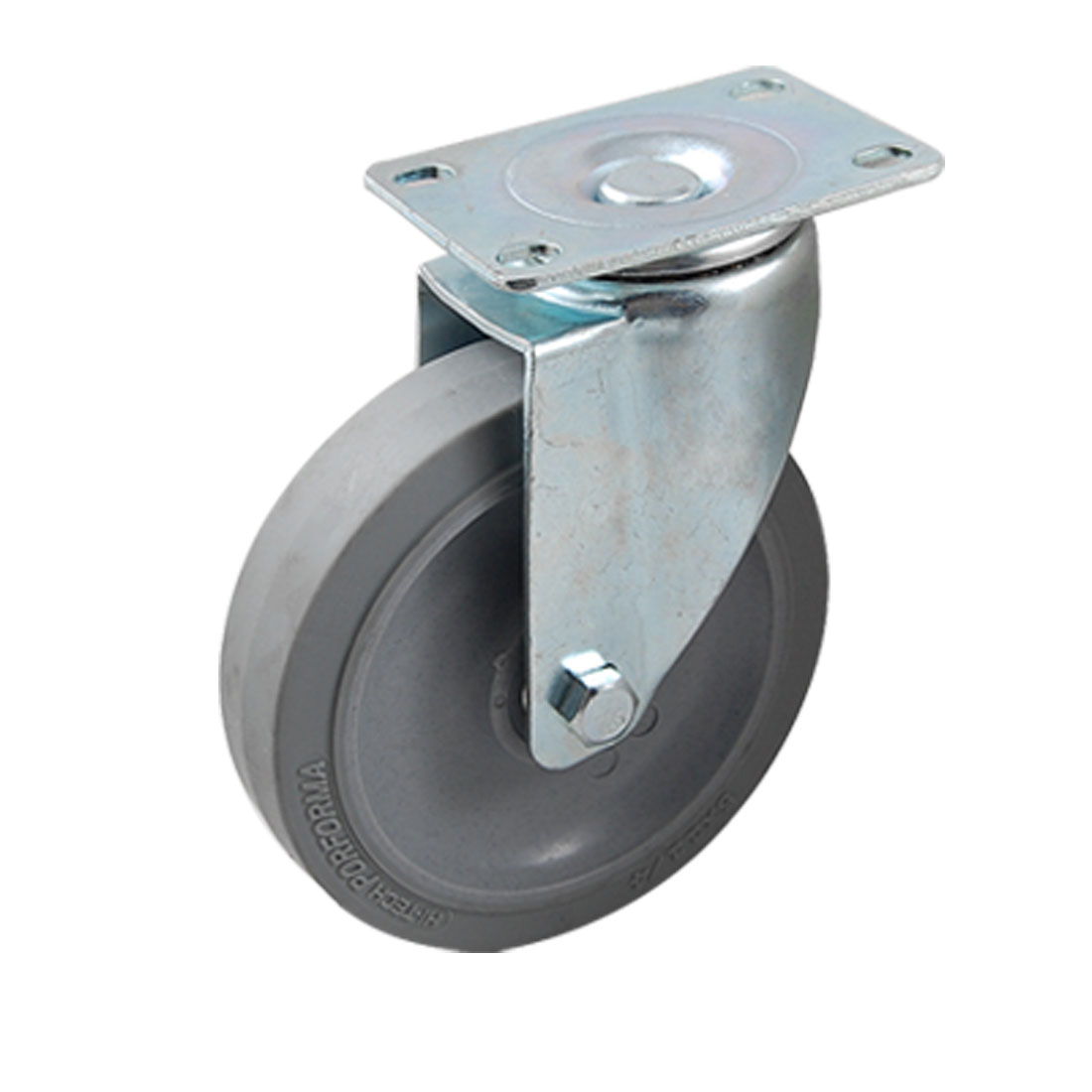 "5"" x 1"" Gray Rubber Wheel Ball Bearing Top Plate Swivel Industrial Caster"