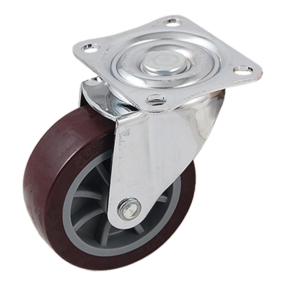 Light Duty 75 x 27mm Swivel Type Burgundy Wheel Industrial Caster