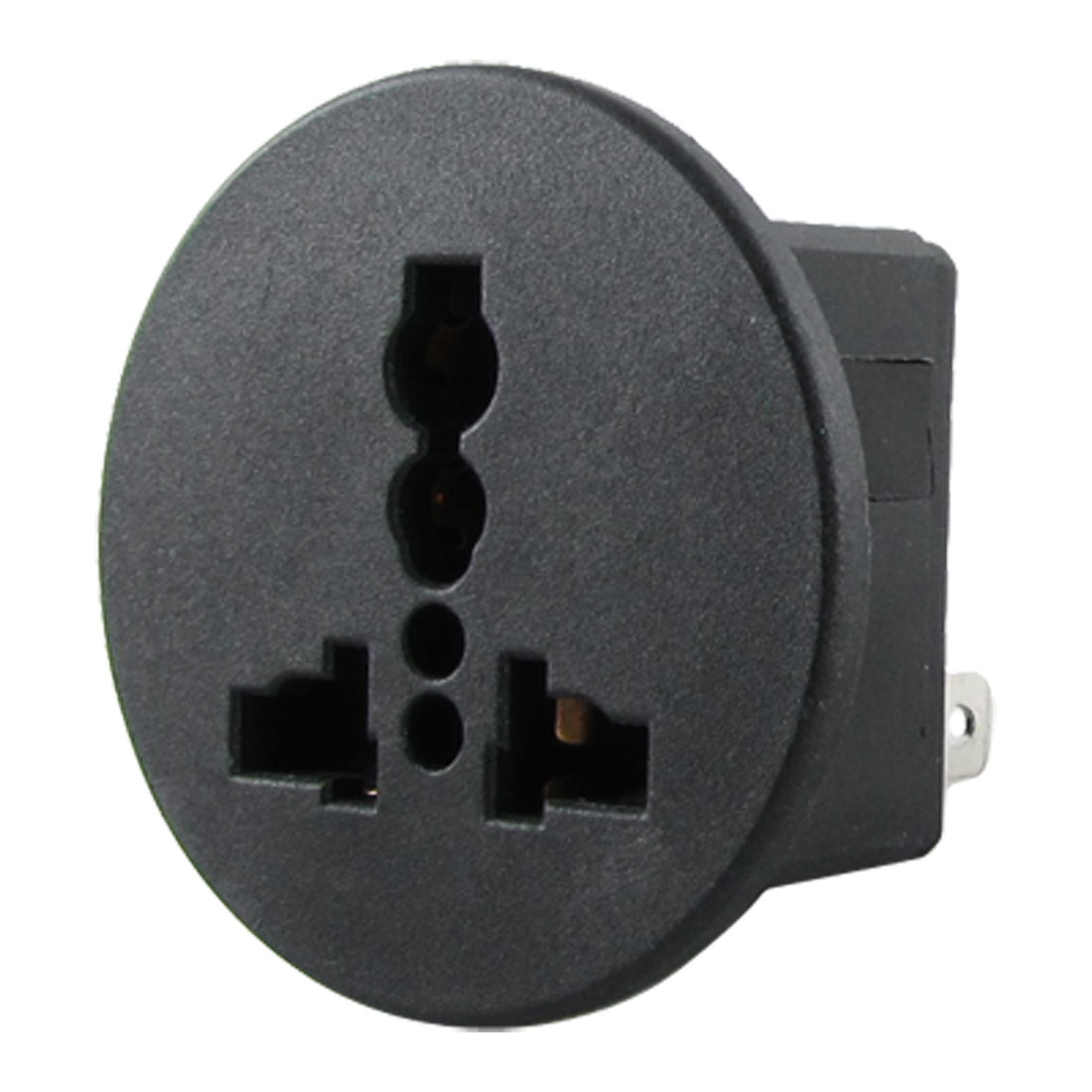 AC 250V 13A Round Black Universal Panel Socket Plug Outlet Power Receptacle
