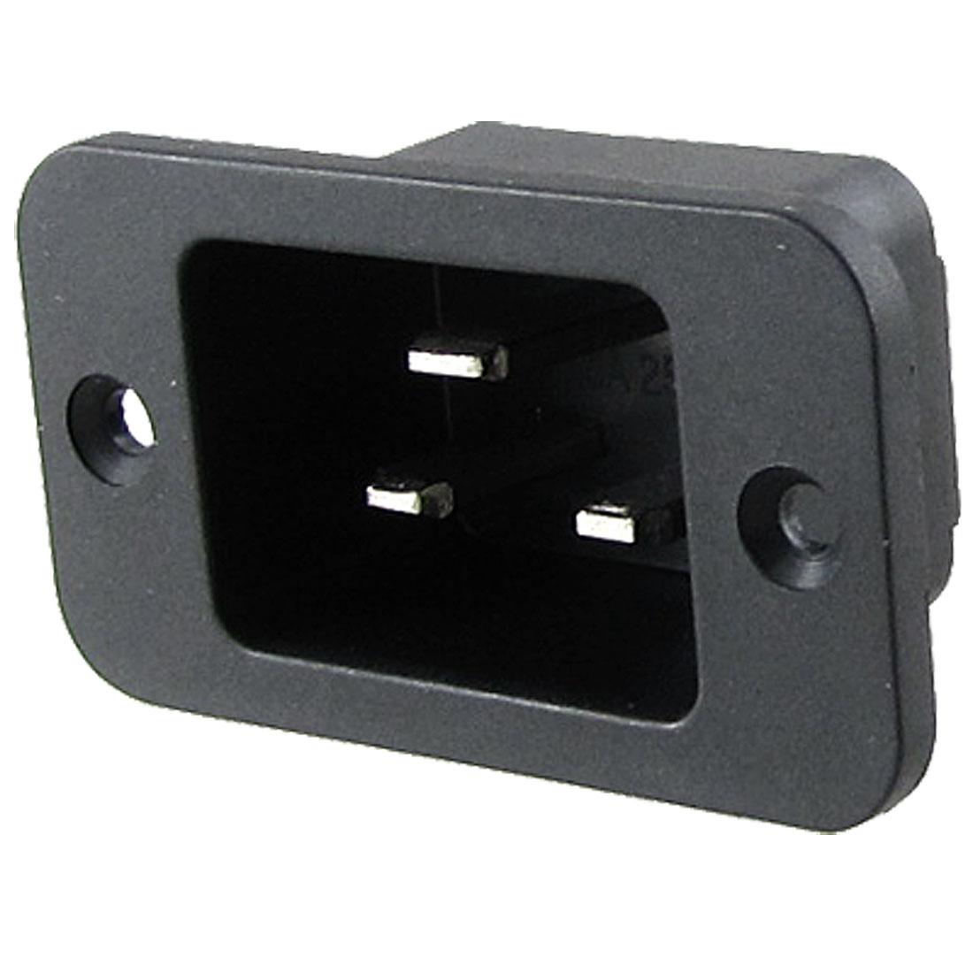 AC 250V 16A 3 Pin Terminals IEC 320 C20 Inlet Power Socket Black