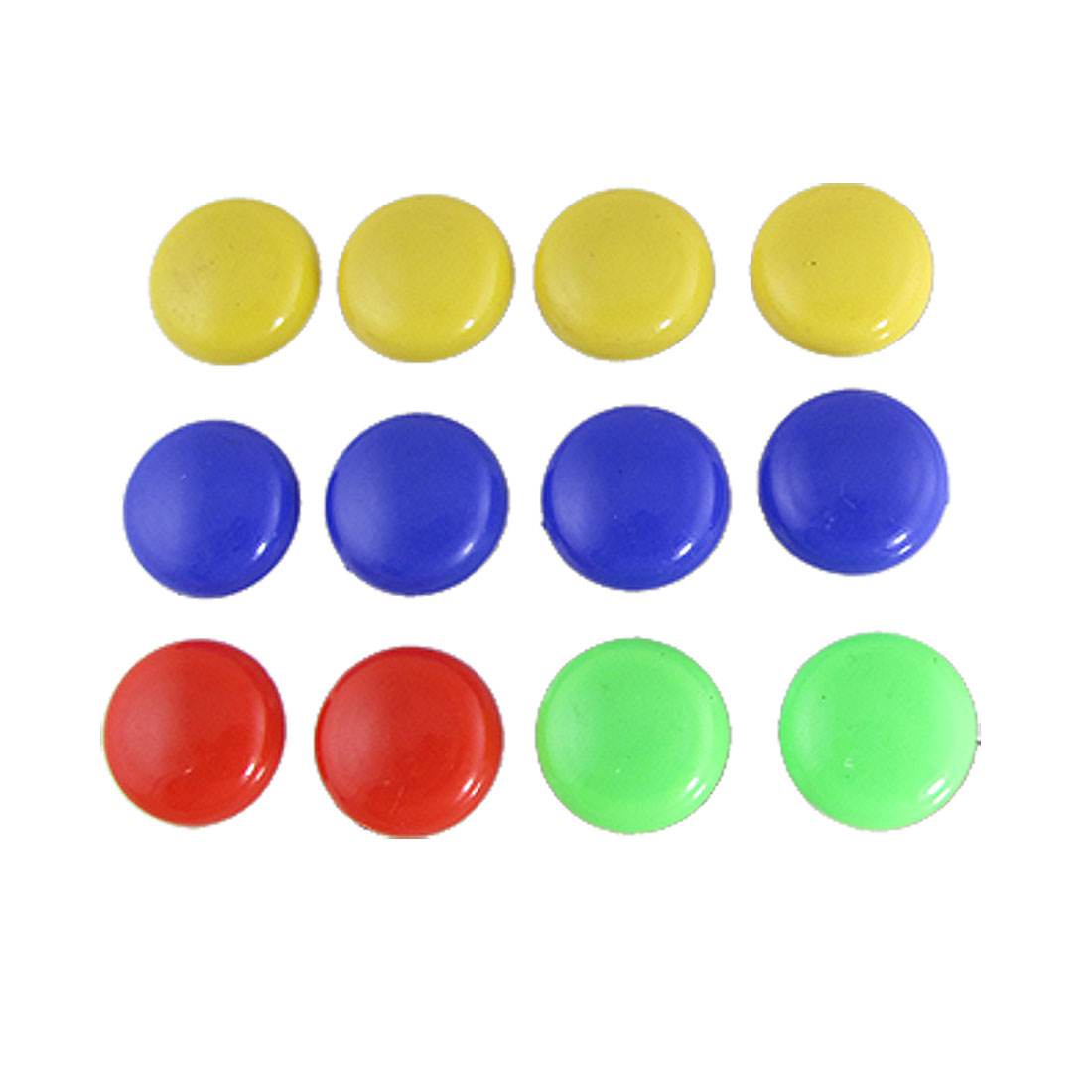 12 Pcs Round Plastic 4 Colors Whiteboard Refrigerator Magnets Decor