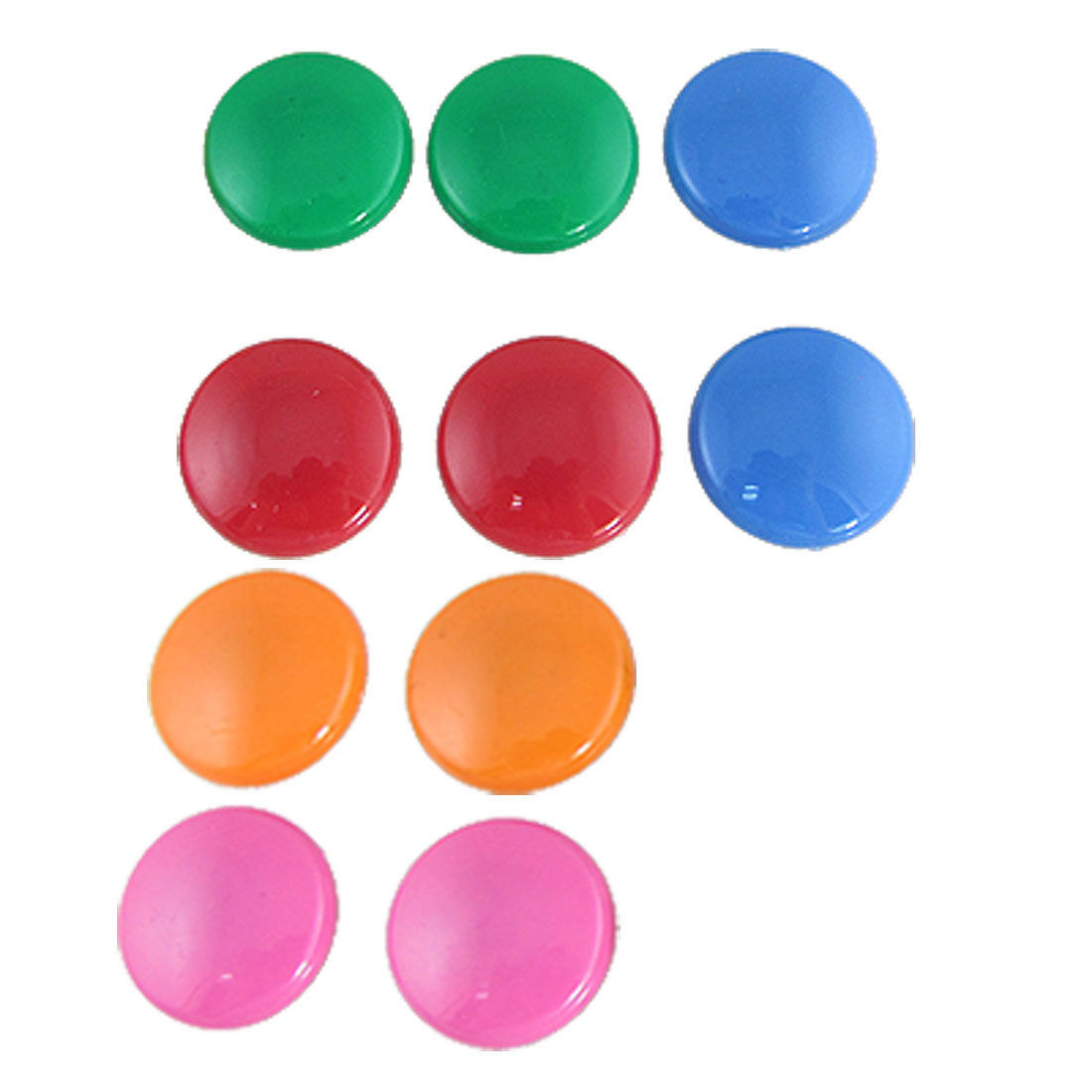10 Pcs 35mm Dia Round Plastic 5 Colors Refrigerator Magnets