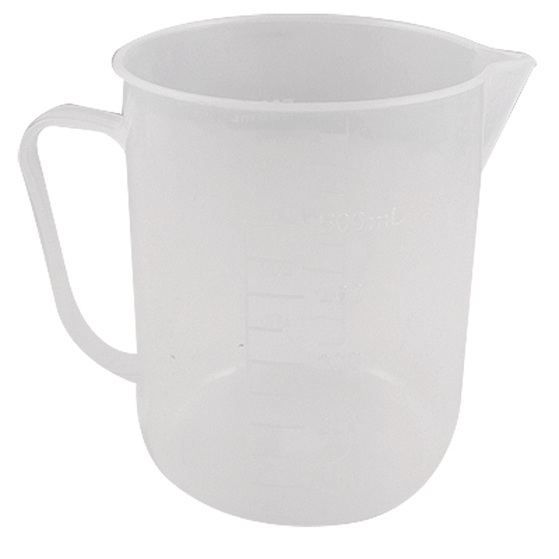 500ml Capacity Handle Design Transparent Plastic Lab Measuring Cup Beaker