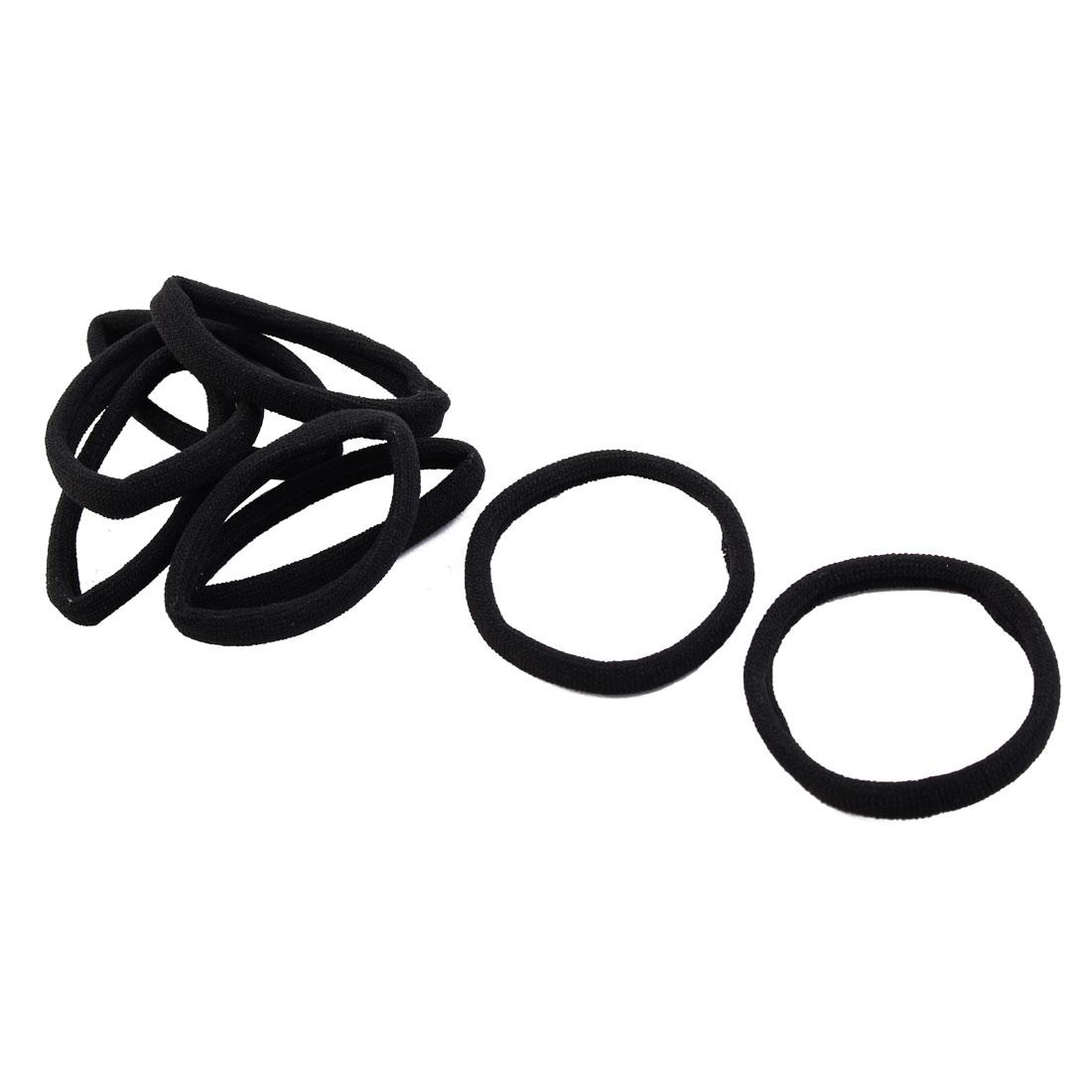 Women Elastic Fabric Stretchy Band Hair Tie Ponytail Holder Black 8pcs
