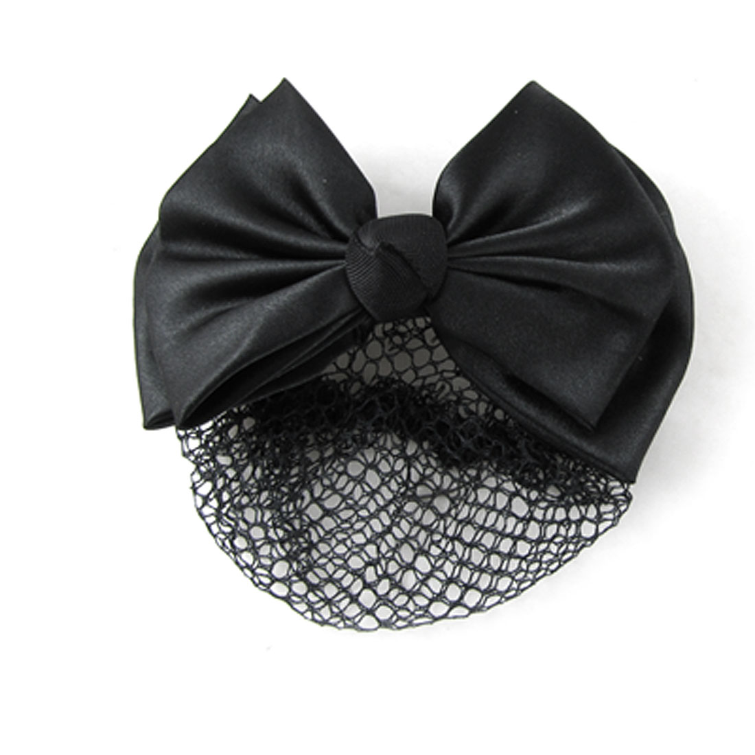 Black Polyester Bowtie Metal Barrette Hair Clip Bun Cover Net for Women