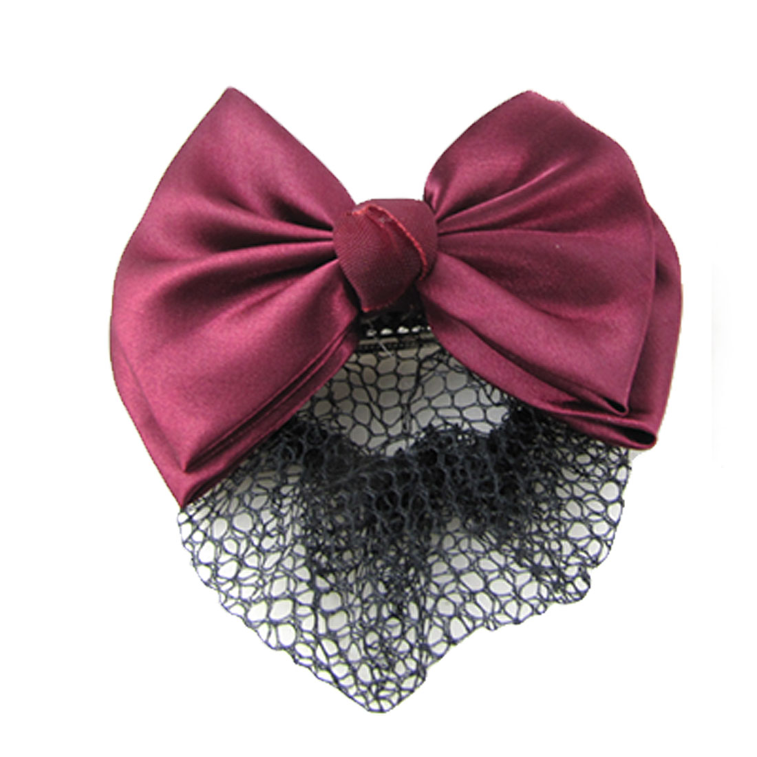 Woman Burgundy Two Layers Bowtie Accent Black Hairnet Hair Clip